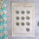 お花の形のボタンシート モスグリーン(小)10個
