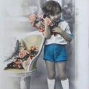 薔薇を持つ男の子のポストカード