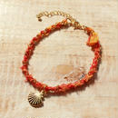 Shell Silk Ribbon Bracelet -Orange-