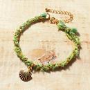 Shell Silk Ribbon Bracelet -Lime-