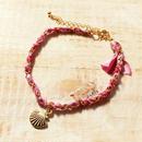 Shell Silk Ribbon Bracelet -Purple-