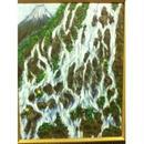 油絵創作画:F6号:富士見渓流日本岩
