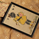 ベルギーのアンティークフレーム*刺繡女の子
