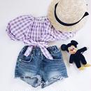 kids★offshoulder check blouse