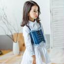 kids★crash denim bustier +shirt one-piece(junior)