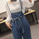 【ladies】denim ribbon salopette