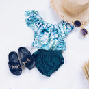kids★off shoulder leaf Bikini