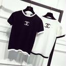 シャネル Tシャツ ロゴ CHANEL ブラックホワイト セレブ愛用
