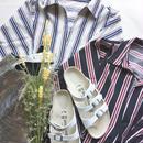 merlot マルチストライプ七分袖シャツ