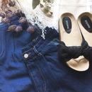 merlot スカラップポケットワイドデニムパンツ