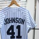 MAJISTIC NY YANKEES/マジェスティック ニューヨークヤンキース ベースボールシャツ  41JOHNSON Made In USA (USED)