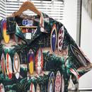 サーフボード柄 オープンカラー アロハシャツ 90年代 Made  In HAWAII USA (USED)