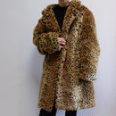 VINTAGE  LEOPARD FAKE FUR COAT