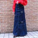 Vintage   Belt Design Denim Long Skirt