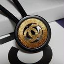 ヴィンテージ CHANEL シャネル ボタン ココマーク 20mm 透かし ブラック×ゴールド ヘアゴムのおまけ付(c-81)