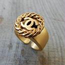 ヴィンテージ CHANEL シャネル ボタン ココマーク 16mm タイプ2 チェーンフレーム ゴールドボタン 指輪 #12号 オリジナルリングのおまけ付(c-147)