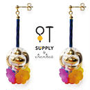 Jewelry kit アクセサリー制作キット/チャイナボタン風ビーズと花のピアス(イヤリング変更可)