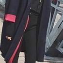 海外 インポート セレクト ネイビー レッド バイカラー シンプル ピー コート 紺 赤 色