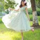 海外インポートセレクトミントグリーンフラワーミモレ丈マキシワンピースドレス花柄