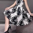 海外インポートホワイトブラックデザインフレアーワンピースドレス
