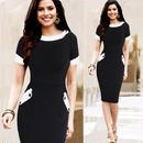 海外インポートセレクトブラックホワイトバイカラーデザイン上品ワンピースドレス