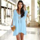 海外インポートセレクト水色シフォンポンチョ風デザインワンピースドレス