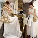 海外インポートホワイトシースルーデザインマキシワンピースドレス白