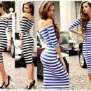 海外インポートセレクトブルーホワイトボーダーオフショルダーデザインミディー丈ワンピースドレス青白色