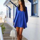 海外インポートセレクトブルーカットアウトデザインシフォンワンピースドレス青色