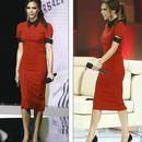 海外インポートセレクトレッドブラックバイカラー襟付きミディーミモレ膝丈ワンピースドレス