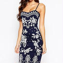 海外インポートセレクトブルーフラワーデザインキャミソールワンピースドレス