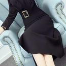 海外 インポート ブラック カシュクール ベルト付 フレアー ミモレ ミディ 膝下 丈 ワンピース ドレス