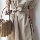 レディース 海外 インポート ベージュ 腰ひも 付き シンプル ミディ ミモレ ひざ 下 丈 ワンピース ドレス