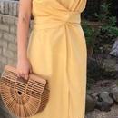 レディース 海外 インポート イエロー シンプル ミディ 膝 下 丈 ワンピース ドレス 黄色