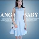 海外インポートセレクト水色シースルーデザインワンピースドレス