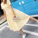 レディース 海外 インポート イエロー ホワイト ギンガム チェック コットン ミモレ 膝下 丈 ワンピース ドレス 黄色
