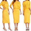 レディース イエロー ワンショルダー デザイン ワンピース パーティー ドレス ロング 丈 黄色