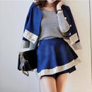 海外インポートセレクトブルー×ゴールド箔デザインジャケット&スカートセットアップ2点セット