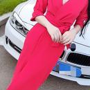 海外 インポート セレクト レッド カシュクール セクシー タイト ミディ 膝下 丈 ワンピース ドレス 赤