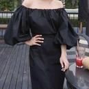レディース 海外 インポート ブラック コットン オフショル フレア スリーブ マキシ ワンピース ドレス ロング 黒