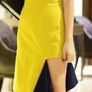 海外 インポート イエロー カラー フリル デザイン バイカラー ワンピース パーティー ドレス 黄色