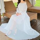 海外インポートホワイトシフォンオフショルダーマキシワンピースパーティードレスロング白色