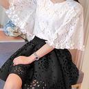 海外インポートホワイトフラワーレーストップスフレアースカートセットアップワンピースドレス