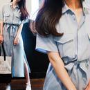 海外インポートパステルブルーシャツマキシワンピースドレス水色