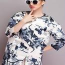 海外インポートセレクトホワイトネイビーフラワーデザインノーカラースプリングジャケットコート白紺色