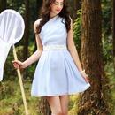 海外インポートセレクト水色ホワイトパール付シフォンフレアーワンピースドレス