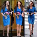 海外インポートセレクトロイヤルブルー膝丈ワンピースドレス青色海外セレブ
