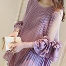 海外インポートパープルシフォンシースルーフリルデザインミニワンピースドレス