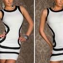 海外インポートセレクトホワイト×ブラックセクシーボディコンミニワンピースドレス白黒