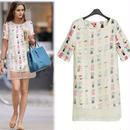 海外インポートホワイトシースルーデザインワンピースドレス